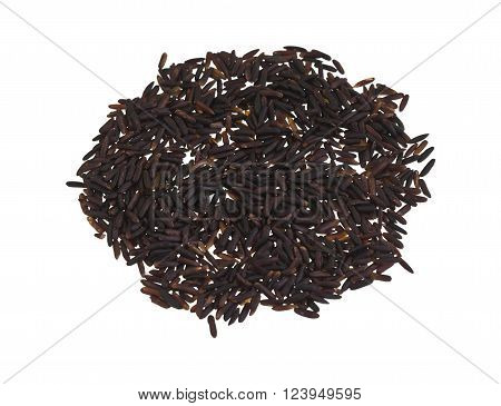 Heap of black rice a range of rice types of the species Oryza sativa L. which is high in nutritional value and is a source of iron vitamin E and antioxidants