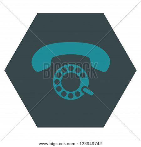 Pulse Dialing vector symbol. Image style is bicolor flat pulse dialing iconic symbol drawn on a hexagon with soft blue colors.