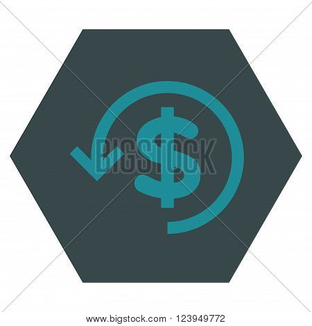 Refund vector pictogram. Image style is bicolor flat refund iconic symbol drawn on a hexagon with soft blue colors.