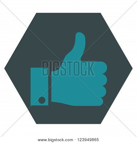 Thumb Up vector icon symbol. Image style is bicolor flat thumb up icon symbol drawn on a hexagon with soft blue colors.
