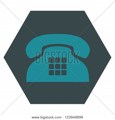 Tone Phone vector icon. Image style is bicolor flat tone phone pictogram symbol drawn on a hexagon with soft blue colors.