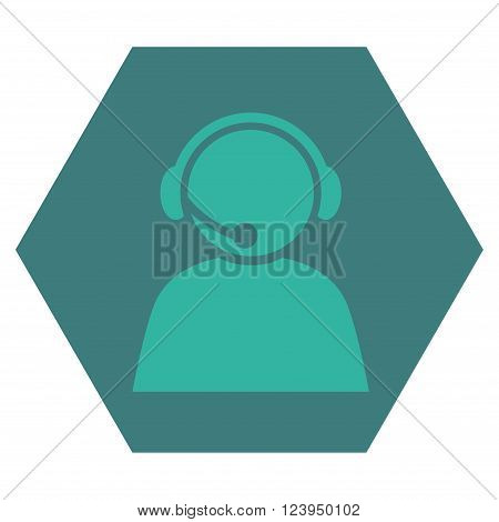 Call Center Operator vector icon. Image style is bicolor flat call center operator pictogram symbol drawn on a hexagon with cobalt and cyan colors.