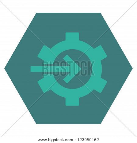 Cog Integration vector pictogram. Image style is bicolor flat cog integration iconic symbol drawn on a hexagon with cobalt and cyan colors.