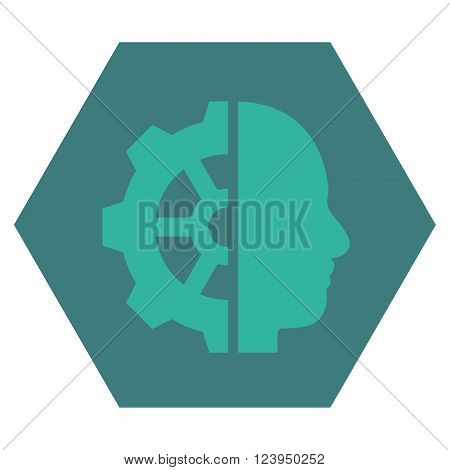 Cyborg Gear vector pictogram. Image style is bicolor flat cyborg gear iconic symbol drawn on a hexagon with cobalt and cyan colors.