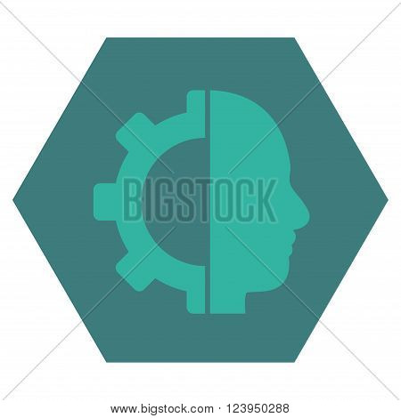 Cyborg Gear vector icon symbol. Image style is bicolor flat cyborg gear iconic symbol drawn on a hexagon with cobalt and cyan colors.