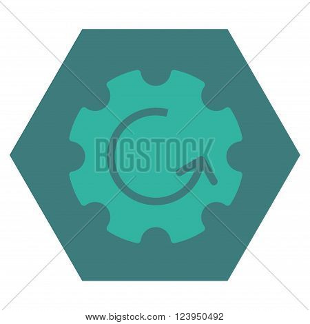 Gear Rotation vector icon. Image style is bicolor flat gear rotation icon symbol drawn on a hexagon with cobalt and cyan colors.