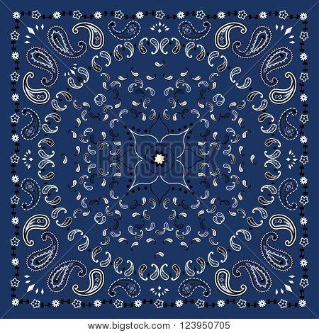 Blue Bandana Print Vector