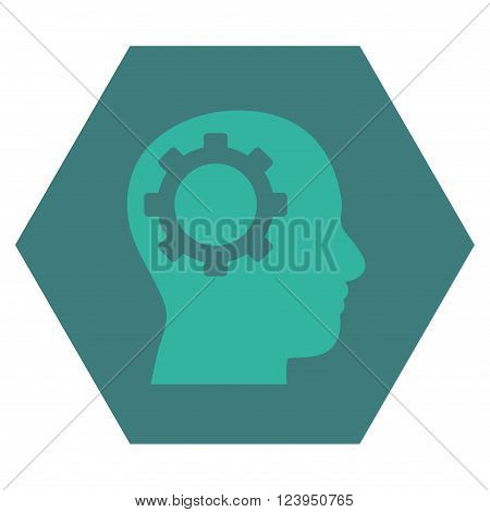 Intellect Gear vector symbol. Image style is bicolor flat intellect gear pictogram symbol drawn on a hexagon with cobalt and cyan colors.