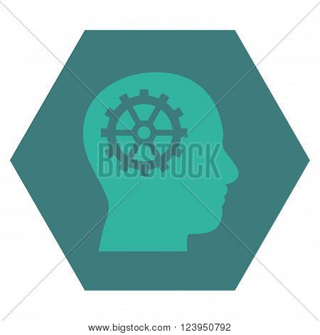 Intellect vector symbol. Image style is bicolor flat intellect iconic symbol drawn on a hexagon with cobalt and cyan colors.
