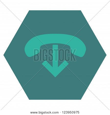 Phone Hang Up vector pictogram. Image style is bicolor flat phone hang up pictogram symbol drawn on a hexagon with cobalt and cyan colors.