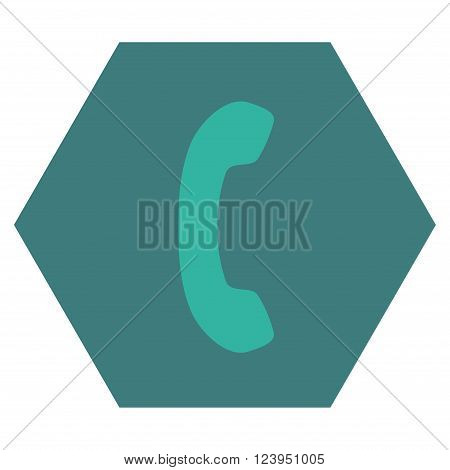 Phone Receiver vector symbol. Image style is bicolor flat phone receiver icon symbol drawn on a hexagon with cobalt and cyan colors.