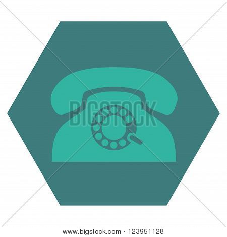 Pulse Phone vector symbol. Image style is bicolor flat pulse phone pictogram symbol drawn on a hexagon with cobalt and cyan colors.