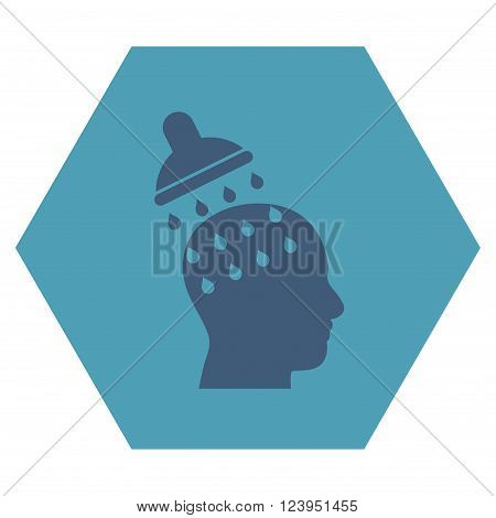 Brain Washing vector icon. Image style is bicolor flat brain washing iconic symbol drawn on a hexagon with cyan and blue colors.