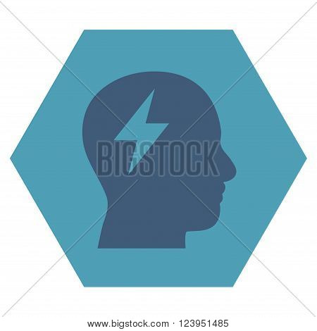 Brainstorming vector icon symbol. Image style is bicolor flat brainstorming iconic symbol drawn on a hexagon with cyan and blue colors.