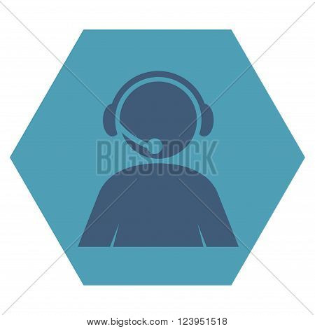 Call Center Operator vector icon. Image style is bicolor flat call center operator iconic symbol drawn on a hexagon with cyan and blue colors.