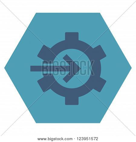 Cog Integration vector icon symbol. Image style is bicolor flat cog integration pictogram symbol drawn on a hexagon with cyan and blue colors.
