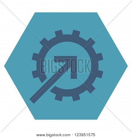 Cog Integration vector icon. Image style is bicolor flat cog integration iconic symbol drawn on a hexagon with cyan and blue colors.