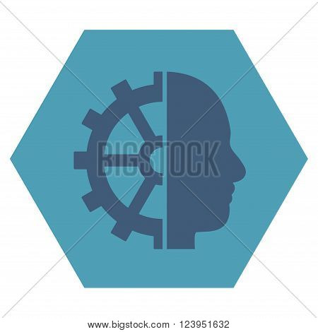 Cyborg Gear vector pictogram. Image style is bicolor flat cyborg gear iconic symbol drawn on a hexagon with cyan and blue colors.