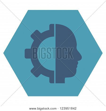 Cyborg Gear vector symbol. Image style is bicolor flat cyborg gear iconic symbol drawn on a hexagon with cyan and blue colors.
