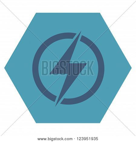 Electricity vector symbol. Image style is bicolor flat electricity icon symbol drawn on a hexagon with cyan and blue colors.