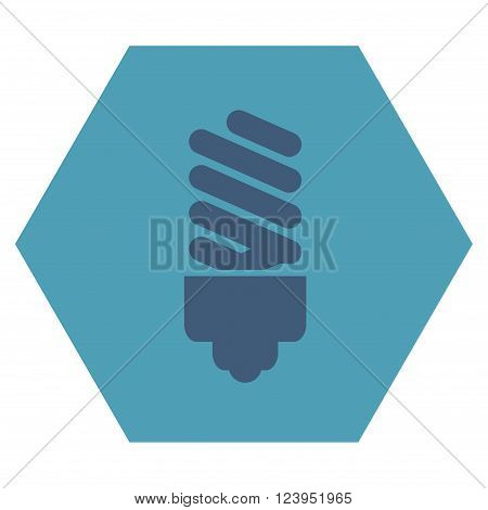 Fluorescent Bulb vector icon symbol. Image style is bicolor flat fluorescent bulb iconic symbol drawn on a hexagon with cyan and blue colors.