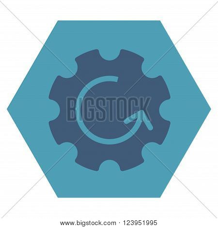 Gear Rotation vector pictogram. Image style is bicolor flat gear rotation pictogram symbol drawn on a hexagon with cyan and blue colors.