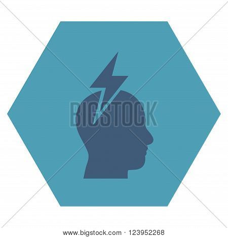 Headache vector icon symbol. Image style is bicolor flat headache icon symbol drawn on a hexagon with cyan and blue colors.
