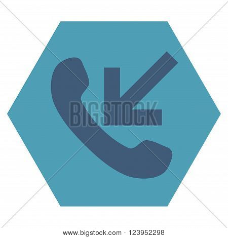 Incoming Call vector icon. Image style is bicolor flat incoming call pictogram symbol drawn on a hexagon with cyan and blue colors.