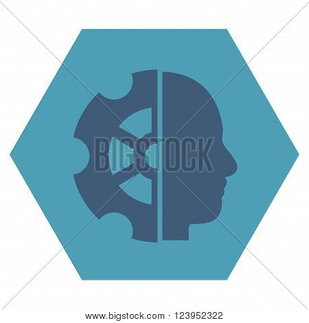 Intellect vector icon. Image style is bicolor flat intellect iconic symbol drawn on a hexagon with cyan and blue colors.