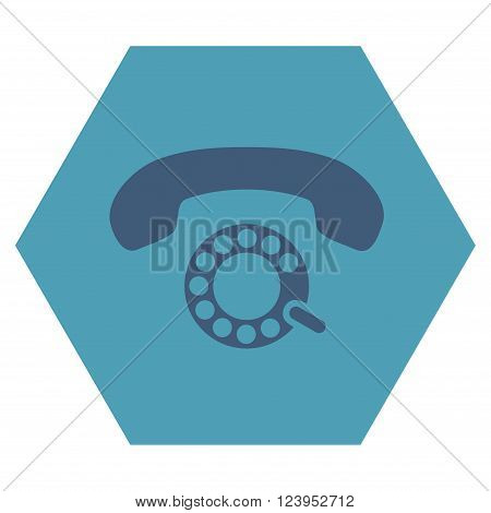 Pulse Dialing vector pictogram. Image style is bicolor flat pulse dialing pictogram symbol drawn on a hexagon with cyan and blue colors.
