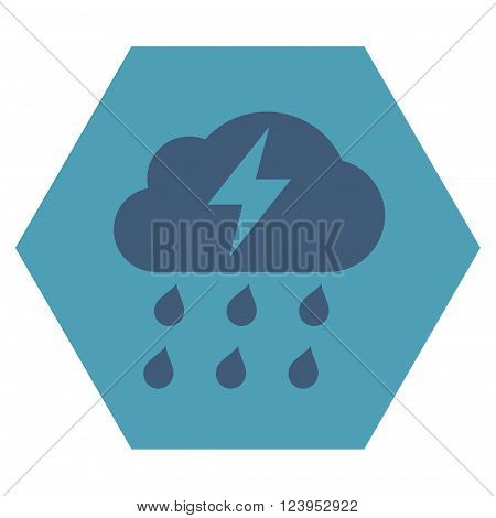 Thunderstorm vector icon. Image style is bicolor flat thunderstorm iconic symbol drawn on a hexagon with cyan and blue colors.