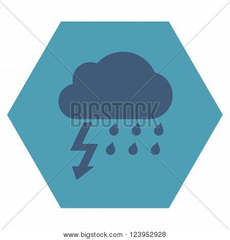 Thunderstorm vector symbol. Image style is bicolor flat thunderstorm iconic symbol drawn on a hexagon with cyan and blue colors.