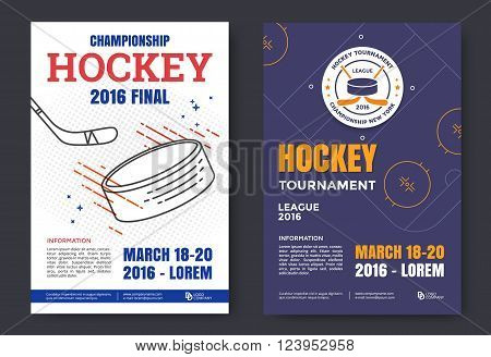 Ice hockey championship poster. Vector line illustration hockey stadium and puck.