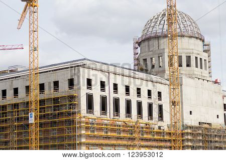 Berlin, Germany - March 30, 2016: Construction site of the reconstruction of the Berlin City Palace (Berliner Stadtschloss) in berlin, germany.