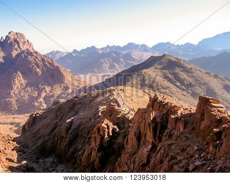 Tourists descend from the Mount Sinai after the night hike to the summit of Aka Jebel Musa, Sinai Peninsula in Egypt.
