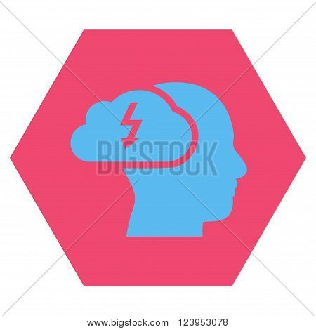 Brainstorming vector symbol. Image style is bicolor flat brainstorming iconic symbol drawn on a hexagon with pink and blue colors.