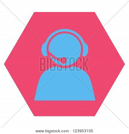 Call Center Operator vector pictogram. Image style is bicolor flat call center operator iconic symbol drawn on a hexagon with pink and blue colors.