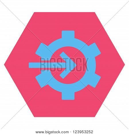 Cog Integration vector icon symbol. Image style is bicolor flat cog integration iconic symbol drawn on a hexagon with pink and blue colors.