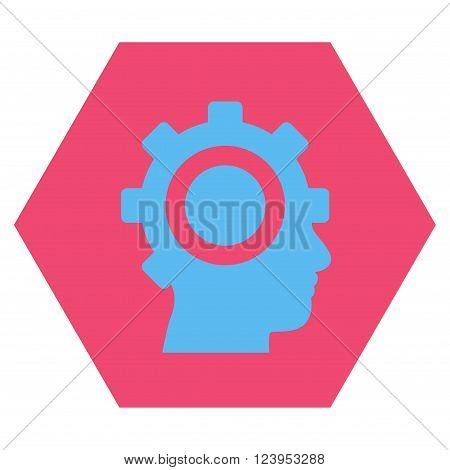 Cyborg Gear vector icon symbol. Image style is bicolor flat cyborg gear pictogram symbol drawn on a hexagon with pink and blue colors.