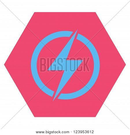 Electricity vector icon symbol. Image style is bicolor flat electricity iconic symbol drawn on a hexagon with pink and blue colors.