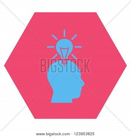 Genius Bulb vector pictogram. Image style is bicolor flat genius bulb pictogram symbol drawn on a hexagon with pink and blue colors.