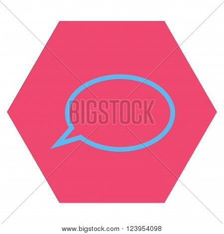 Hint Cloud vector pictogram. Image style is bicolor flat hint cloud pictogram symbol drawn on a hexagon with pink and blue colors.