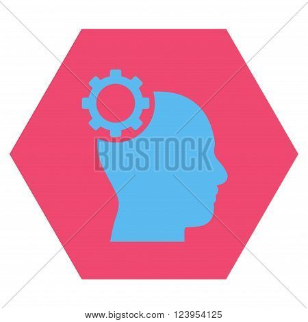 Intellect Gear vector icon symbol. Image style is bicolor flat intellect gear iconic symbol drawn on a hexagon with pink and blue colors.