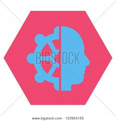 Intellect vector pictogram. Image style is bicolor flat intellect pictogram symbol drawn on a hexagon with pink and blue colors.