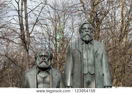 Berlin, Germany - march 30, 2016: Statue of Karl Marx and Friedrich Engels near Alexanderplatz in Berlin, Germany.