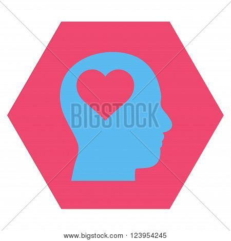 Lover Head vector icon. Image style is bicolor flat lover head pictogram symbol drawn on a hexagon with pink and blue colors.