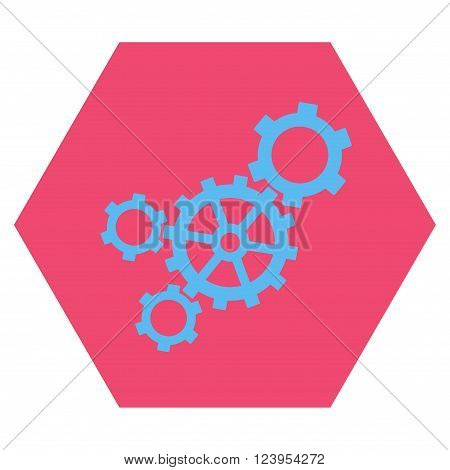 Mechanism vector symbol. Image style is bicolor flat mechanism pictogram symbol drawn on a hexagon with pink and blue colors.