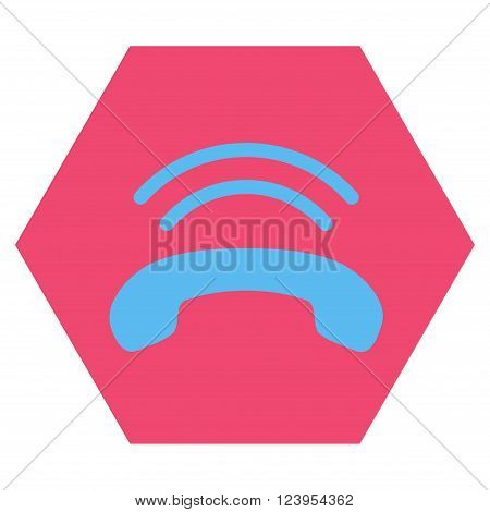 Phone Ring vector icon symbol. Image style is bicolor flat phone ring iconic symbol drawn on a hexagon with pink and blue colors.