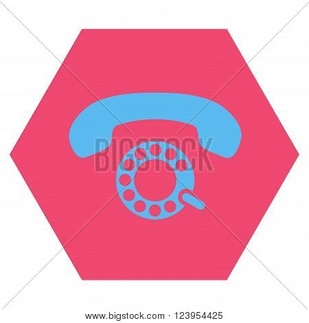 Pulse Dialing vector symbol. Image style is bicolor flat pulse dialing icon symbol drawn on a hexagon with pink and blue colors.