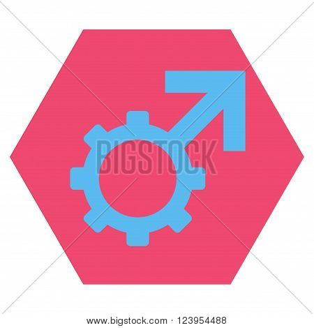 Technological Potence vector icon symbol. Image style is bicolor flat technological potence pictogram symbol drawn on a hexagon with pink and blue colors.